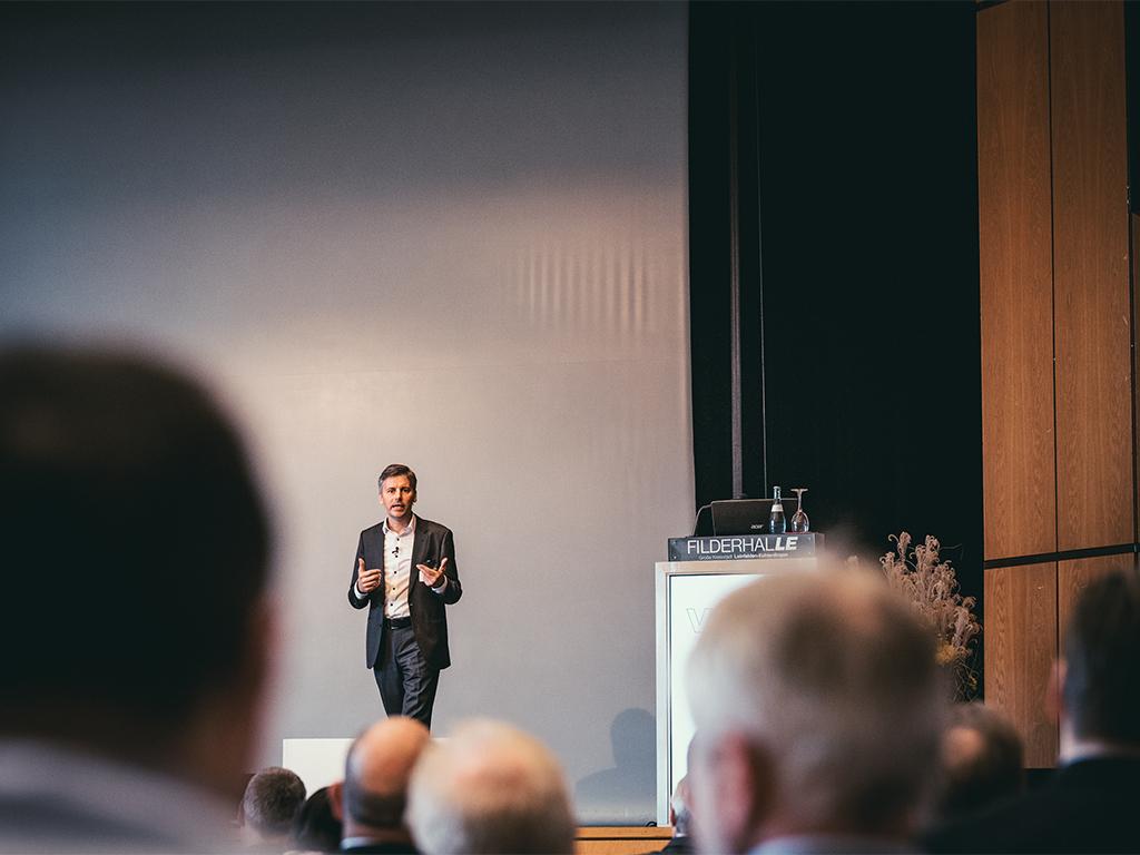 Stefan Dietz bei der Mitgliederversammlung des Verbandes der agrargewerblichen Wirtschaft in Stuttgart.